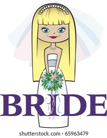 Bride with Long Blonde Hair Blue Eyes
