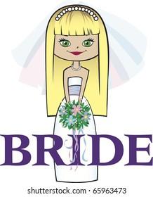 Bride with Long Blonde Hair Green Eyes