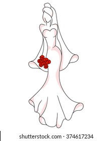 The bride in a long dress with flowers