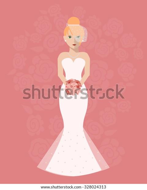 Bride Long Wedding Dress Bouquet Flowers Stock Vector Royalty
