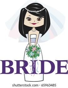 Bride with Med. Black Hair Brown Eyes