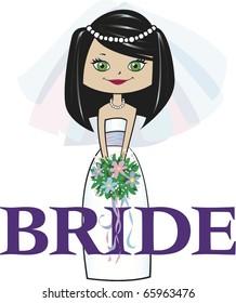 Bride with Med. Black Hair Green Eyes