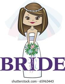 Bride with Med. Brunette Hair Brown Eyes