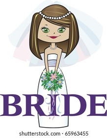 Bride with Med. Brunette Hair Green Eyes