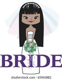 Bride with Mocha Skin, Long Black Hair and Asian Eyes