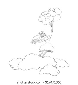 bride on the clouds with balloons.
