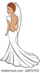 Bride in princess wedding dress.