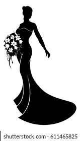Bride in silhouette wearing bridal wedding dress gown holding a wedding bouquet of flowers