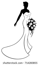 Bride silhouette with the bride in a white bridal dress gown holding a floral wedding bouquet of flowers