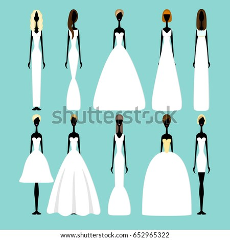 bride silhouettes different styles wedding dresses stock vector