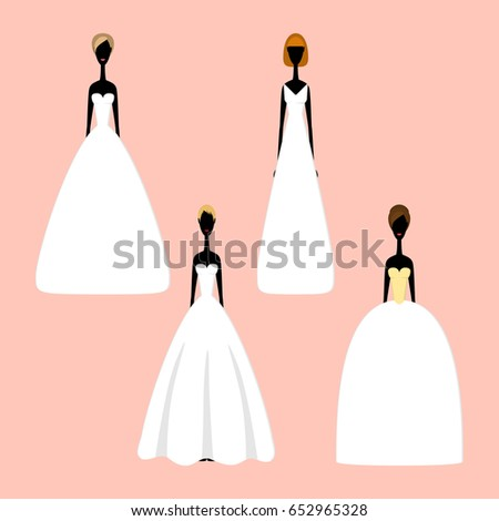 Bride Silhouettes Different Styles Wedding Dresses Stock Vector ...