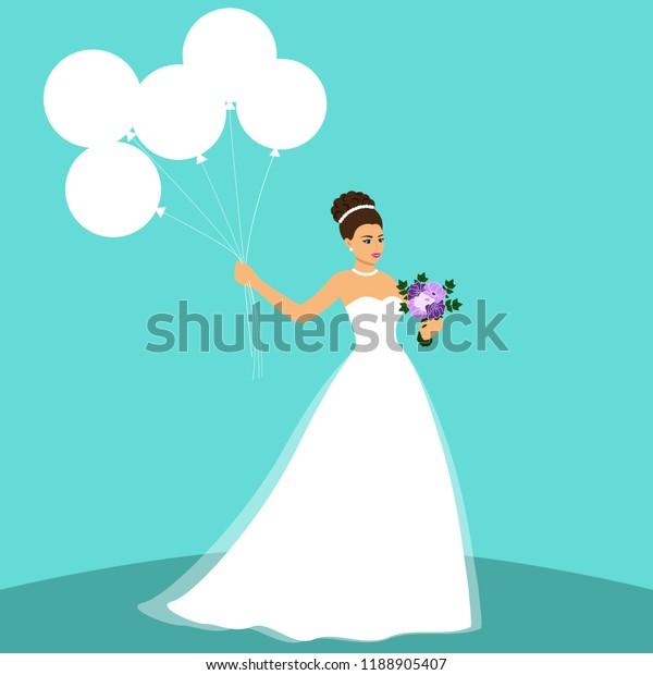 Bride Wedding Card Bride On Blue Stock Vector Royalty Free