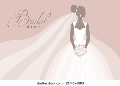 Bride in a wedding dress, holding a bouquet, vector illustration for design: invitation, greeting card, template for the bride show.