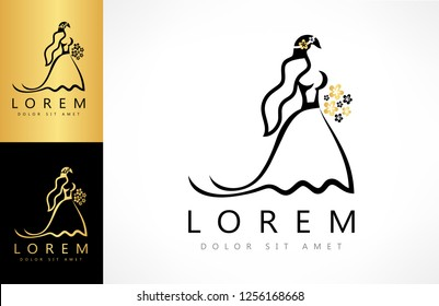 bride in a wedding dress and veil with a bouquet of flowers logo vector