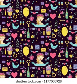 Bride wedding romance doodle icons colorful cute seamless vector pattern