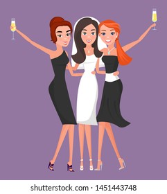 Bride in white wedding dress and bridal veil with girlfriends drinking champagne and celebration. Bridesmaids at hen party or bachelorette vector