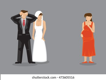 Bridegroom feeling stressed out when pregnant girlfriend turns up at his wedding. Cartoon vector illustration on extramarital affair and infidelity in relationships.