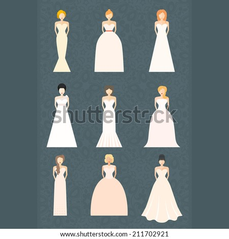 Brides Different Styles Wedding Dresses Made Stock Vector (Royalty ...