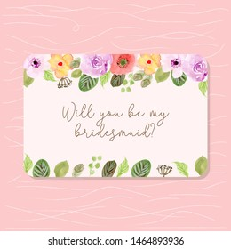 bridesmaid card with watercolor floral frame