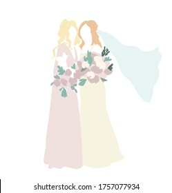 Bridesmaid in festive gown and bride in wedding dress and veil with pink rose bouquets wedding invitation card vector design