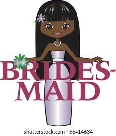 Bridesmaid Long Black Hair Dark Skin Tone Brown Eyes