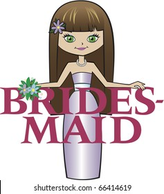 Bridesmaid Long Brunette Hair Green Eyes