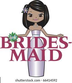 Bridesmaid Med Black Hair Mocha Skin Tone Brown Eyes