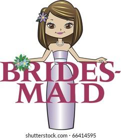 Bridesmaid Med Brunette Hair Brown Eyes