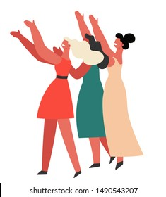 Bridesmaids catching brides bouquet isolated characters, wedding day ritual vector. Women in dresses standing in crowd with hands up, choosing next bride. Girlfriends on family event or party