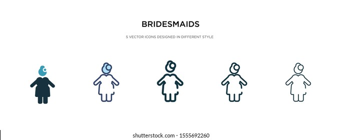 bridesmaids icon in different style vector illustration. two colored and black bridesmaids vector icons designed in filled, outline, line and stroke style can be used for web, mobile, ui