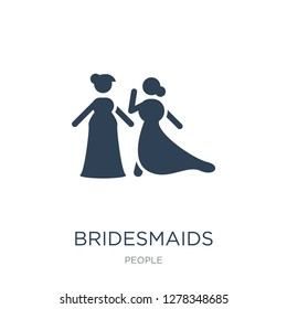 bridesmaids icon vector on white background, bridesmaids trendy filled icons from People collection, bridesmaids vector illustration