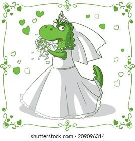 Bridezilla Vector Cartoon - Monster bride eating bouquet vector cartoon. File type: vector EPS AI8 compatible.
