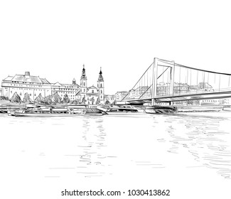 The Bridge across the Danube River. Budapest. Hungary. Europe. Hand drawn vector illustration.