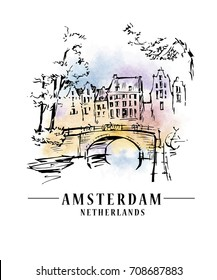 Bridge in Amsterdam, Holland, Netherlands Europe. Hand drawing. Travel sketch. Book illustration, postcard, poster in vector