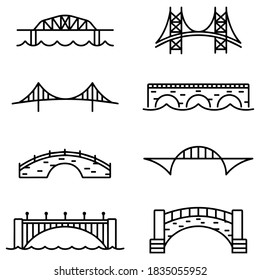 Bridge and Arch Icons and Symbols stock illustration
