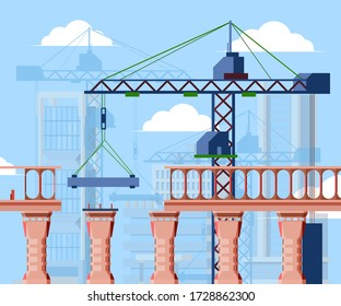 Bridge construction illustration. Construction city bridge blocks, cargo crane under clouds, adjustable support columns, concept industrial engineering. Vector background style.