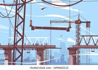 Bridge construction process vector illustration. Steps of formation new bridgework flat style. Tower crane holds concrete support. Building design and maintenance work concept