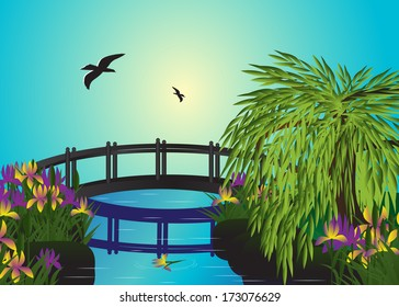 Bridge. Couple of birds flies over the bridge and the river, flowers and a tree grow ashore on a blue background