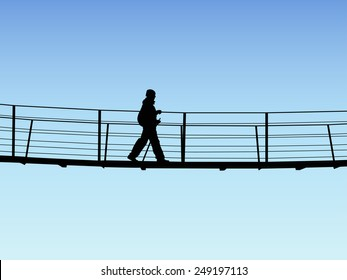 Bridge crossing silhouette on background of sky, Vector illustration