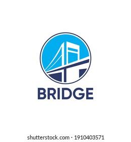 a bridge design logo in shades of sky blue