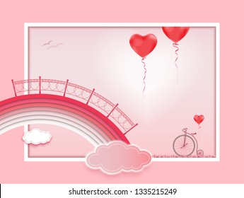 The bridge in the form of a rainbow above the clouds. Old bike and red balloons in the form of a heart.