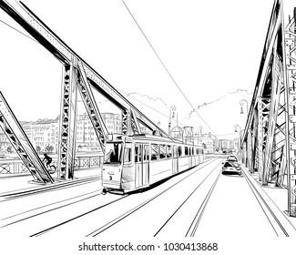 The Bridge of Freedom. Budapest. Hungary. Europe. Hand drawn vector illustration.