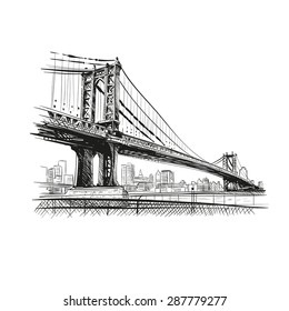 Bridge hand drawn, vector illustration