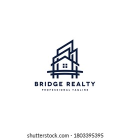 bridge house vector logo design template for canal bridge area properties, realty business. linear line structure logotype