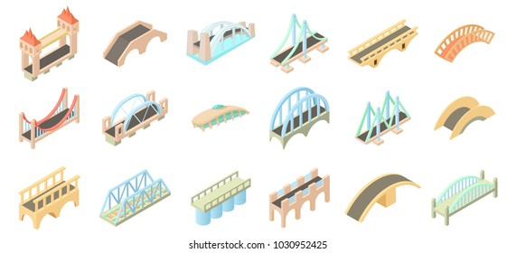 Bridge icon set. Cartoon set of bridge vector icons for web design isolated on white background