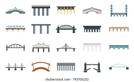 Bridge icon set. Flat set of bridge vector icons for web design isolated on white background