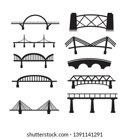 Bridge Icon Set on White Background. Vector