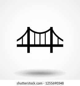 Bridge icon vector. Building symbol. Architecture pictogram, flat vector sign isolated on white background. Simple vector illustration for graphic and web design.