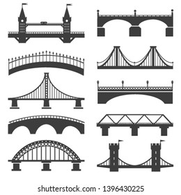 Bridge icons. Bridges vector silhouettes with pillars and bridging towers, concrete promenade and motorway architectural structures illustration