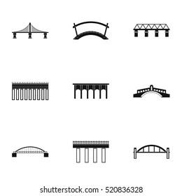 Bridge icons set. Simple illustration of 9 bridge vector icons for web